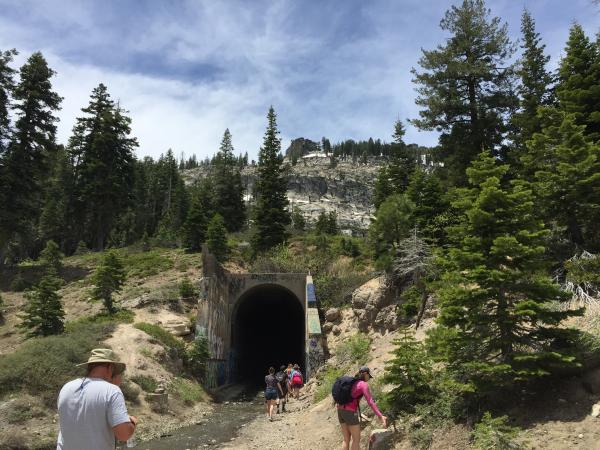 Old abandoned train tunnels built in the 1800's to cross the Sierra Nevadas