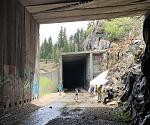 Inside the tunnels, tracks have been removed