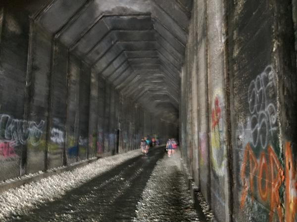 """A bit blurry but you can see where the old """"cut"""" was inside the tunnel. The walls are peppered with graffiti, some of it is true art, others are just tagging"""