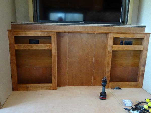 New cabinet frame, notice electrical was moved