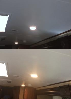 Installed photographic gels in the LED lights to warm them up. Before (top) and after (bottom).