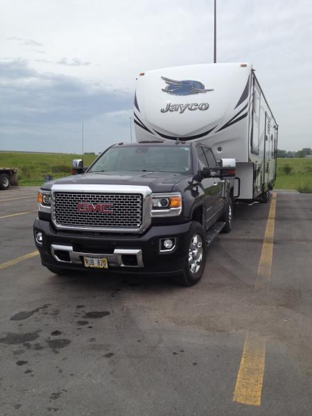 2016 355W Toy Hauler towed by 2016 GMC 3500 Denali HD Diesel