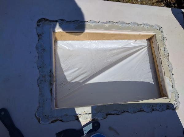 Old skylight off, now for cleaning.