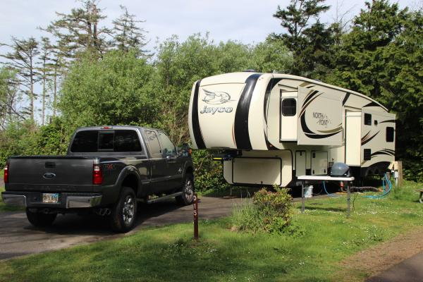 My 341RLTS and Ford 250 at Cape Lookout State Park, Tillamook, Oregon