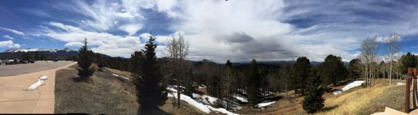 Panorama from East to West, Sentinel Rock, Pikes Peak, Cripple Creek, Sangre de Christos, Collegiate Range