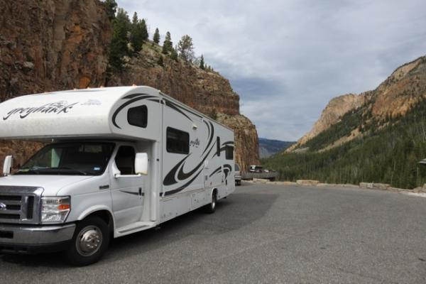 Harvey the RV stops to look at the beauty in Yellowstone