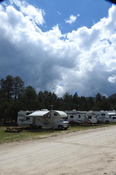 Harvey the RV at Burro Mountain Storm clouds coming in
